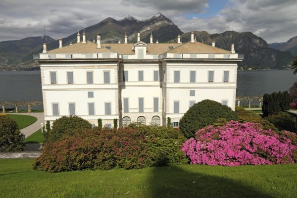 Villa Melzi d'Eril and gardens with flowering rhododendrons and azaleas on Lake Como, Bellagio,