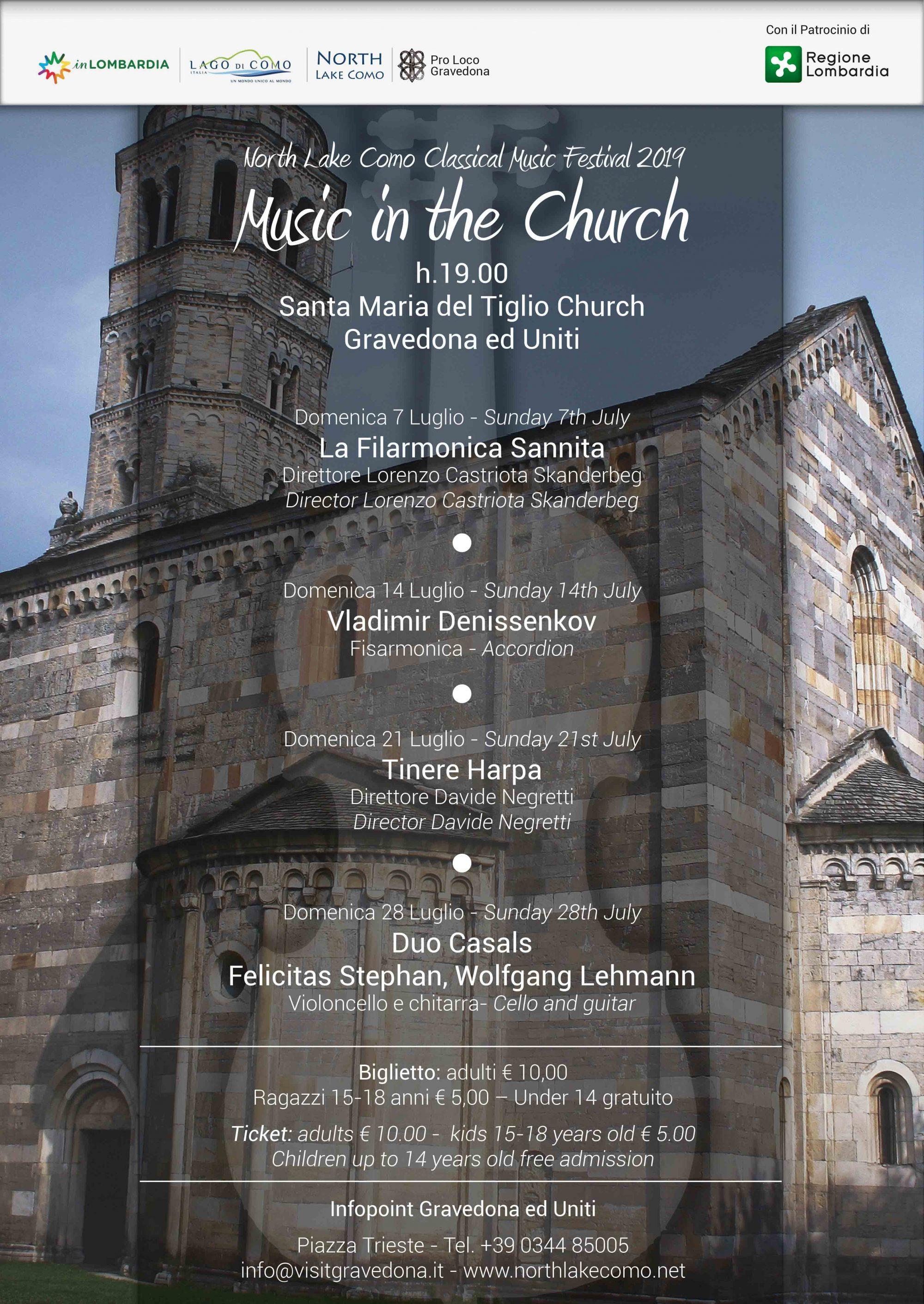 """Festival """"Music in the Church"""" tutte le domeniche di Luglio"""
