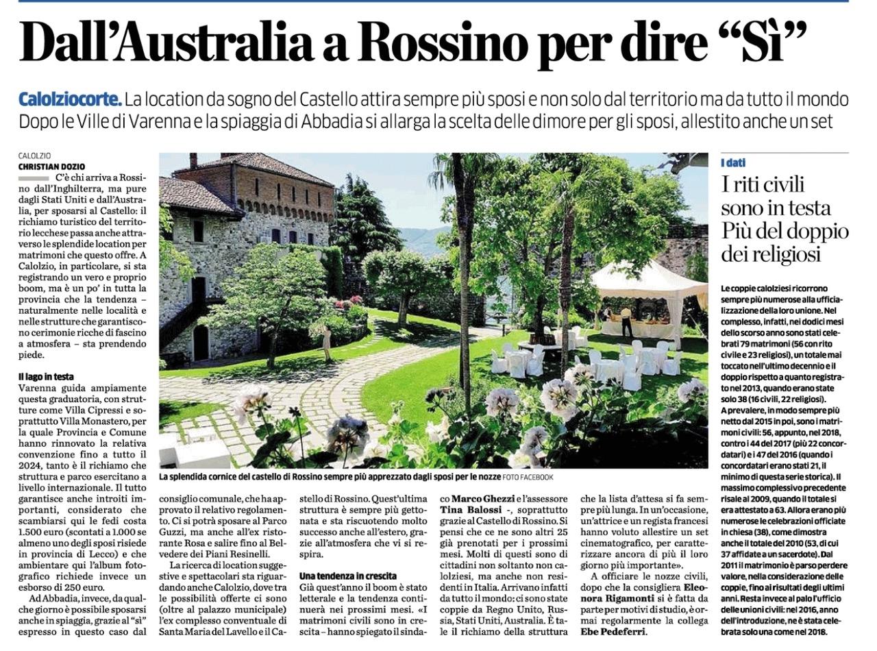 """Dall'Australia a Rossino per dire """"si"""""""