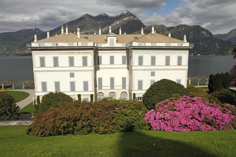 Villa Melzi dEril and gardens with flowering rhododendrons and azaleas on Lake Como Bellagio